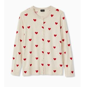 Oatmeal & Red Hearts Button Front Cardigan